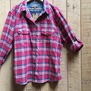 Jachs Girlfriend Plaid Flannel Button Down Shirt